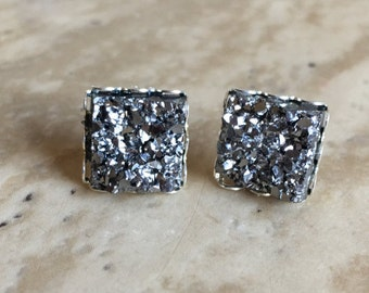 10x10mm Faux Druzy Square Earrings- Zoe