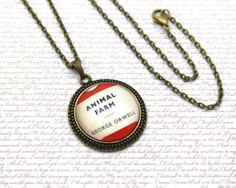 Animal Farm, George Orwell Penguin Book Cover, Book Necklace or Keychain, Keyring