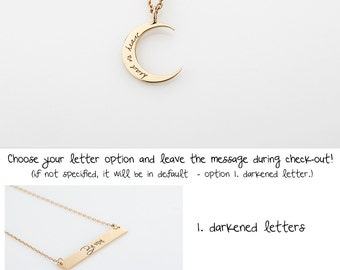 Dianty Gold Cerescent Moon Necklace, Silver Engraved Initial Moon Charm Necklace, Rose Gold Name Moon Pendant Necklace, Disk, Gift for woman