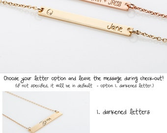 Custom Engraved Bar Necklace, Dainty Bar Necklace, Bridesmaid Gift, Family Necklace,silver Gold Rose Gold Name Jewelry,Personalized Necklace