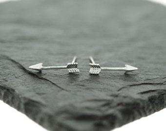 925 Sterling Silver Arrow to Your Heart Studs Earrings, Arrow Studs, Arrow Earrings