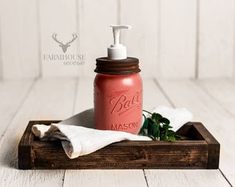 Coral Pink Mason Jar Soap Dispenser | Rustic Bathroom | Farmhouse Bathroom | Mason Jar Decor | Farmhouse Soap Dispenser | Bathroom Organizer