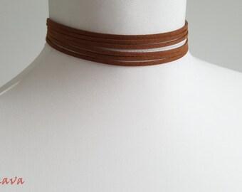 Choker necklace collar multi Brown Silber