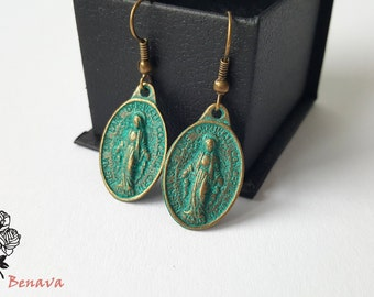 Earrings retro Madonna bronze vintage