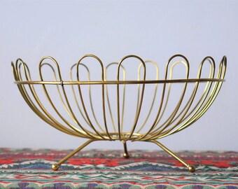 Mid Century Modern Golden Brass Fruit Bowl / Basket