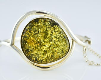 Green Amber Bracelet, Baltic Amber Silver Bracelet, Gemstone Cuff Bracelet, Green Amber Stone,