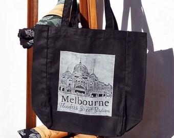 Hand Stamped Bag - Flinders Street Station (black), Eco-Tote, Market Bag
