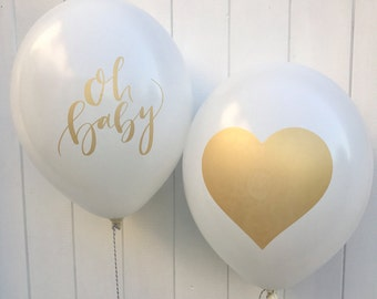 Baby Shower balloons Oh Baby & Heart set - Baby Shower / Gender Reveal/ Birthdays/ Baby/ Christening / New arrival