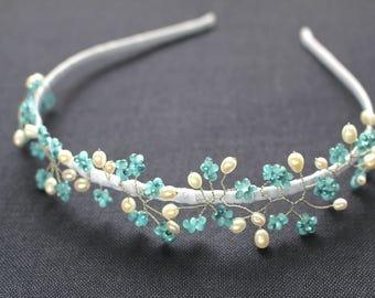 Forget Me Not Tiara, wedding tiara, bridal tiara, blue tiara, blue flower tiara, something blue, flower girl tiara, bridesmaid tiara