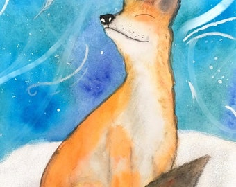 Mystical Fox Watercolour Print
