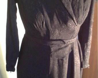 Original Vintage Handmade 1930s Black Dress