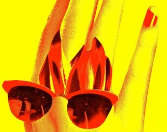 "Hot Welcome to Las Vegas sign, Tech Modern Fine Art, Las Vegas Art, red yellow black Las Vegas, Sunny Las Vegas, 36"" x 48"" metal art print"
