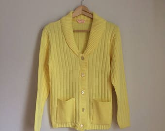 Long knit cardigan, 60s, ribbed, front pockets, sweater, button down, M, *vintage*