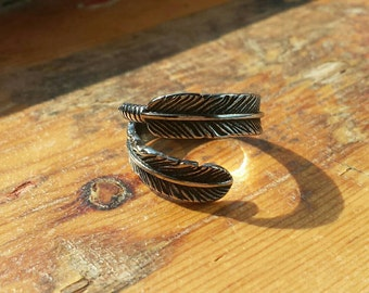 Feather ring, steel, boho style