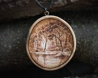 Wooden Necklace with Forest Landscape - wood pendant, pyrography pendant, wood burned necklace, wood jewelry, wooden pendant