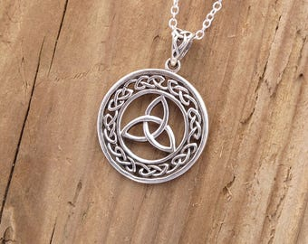 Sterling Silver Celtic Triquetra Goddess Pendant Necklace