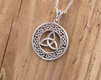 Sterling Silver Celtic Triquetra Goddess Pendant Necklace