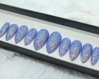 Mermaid Glitter Press on Nails | Iridescent | False Nails | Fake Nails | Glue On Nails | Custom Shapes and Sizes