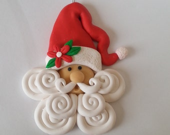 Handcrafted Polymer Clay Santa Christmas Ornament - Santa Gift -