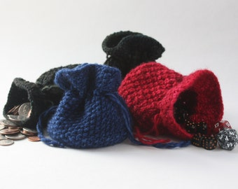 Knitted Pouch / Dice Bag / Small Drawstring Bag