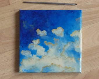 Artistic œuvre abstract painting of beige and blue clouds modern decor