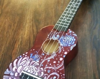 Chrysanthemum Hand-Painted Ukulele