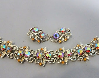 Signed CORO - Demi parure - Bracelet and earrings aurora borealis and amber rhinestones 1950s - gift for woman - mothersday gift