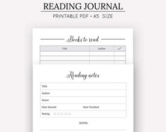 Reading Journal | Printable Reading Journal | Printable Planner Inserts | Planner Inserts | Digital Download | Books To Read | Book Review