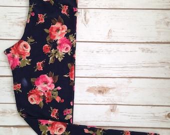 Medium Brushed Poly Leggings, Rust & Pink Roses on Navy