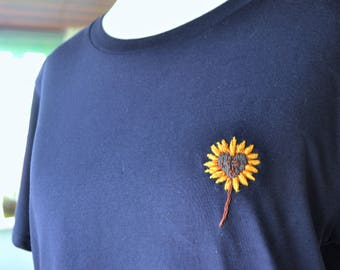 Navy Embroidered T-shirt, Sunflower  T-Shirt, Hand Embroiered Clothing, Organic Cotton T-shirt