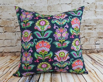 Amy Butler Navy Floral Print Envelope Pillow Covers Set of Two