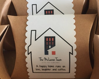 Custom Labels on Chocolate-Covered Espresso Bean Favors