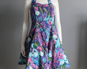 1980's Fit & Flare Halter Dress- Tropical Floral Print- Size 8
