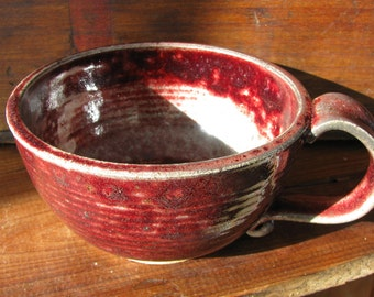 Red Freckle: Handmade Pottery Mug, Ceramic Mug, Stoneware Coffee Cup, Cappuccino cup