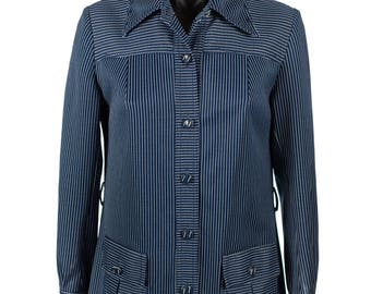 Vintage 1970's Navy Blue and White Pinstripe Button Up Shirt/Jacket