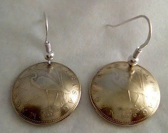 Earrings made of genuine pieces of 5 florint Hungary