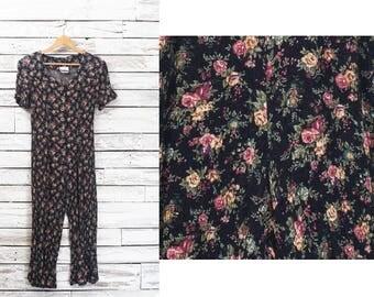 Floral retro romper | Vintage romper pants | Floral romper jumpsuit | Flowers playsuit