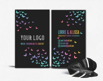 Butterfly business card, Premade business card, Business card template, Printable business card, Lipsense Lularoe business card,