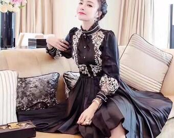 Black Silk Embroidered Dress