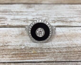 Art Deco Inspired 18K White Gold Onyx & Diamond Ring
