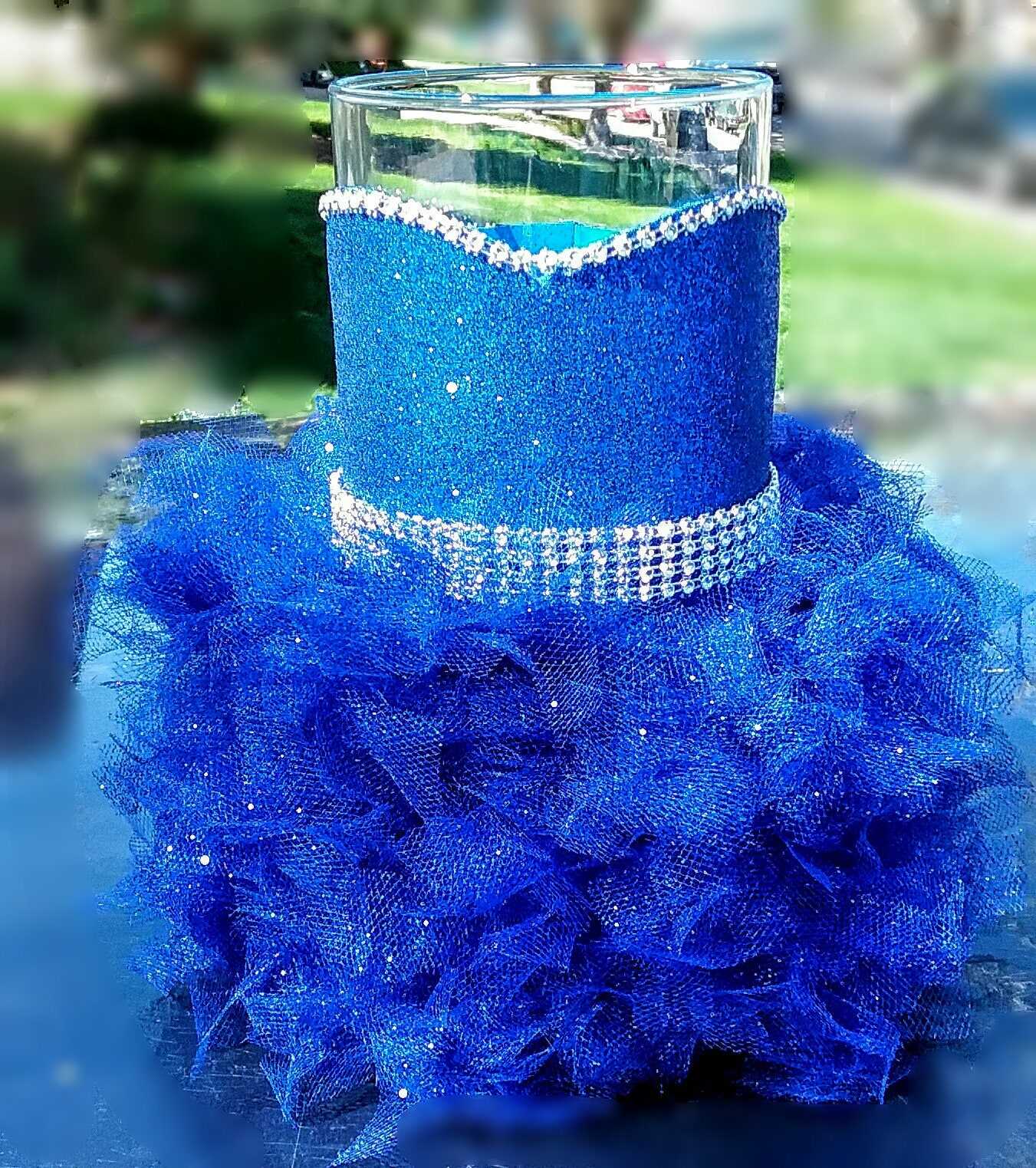 Royal blue wedding centerpiece vase royalty