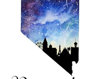 "Nevada Galaxy in Watercolor- 9"" x 12"" Print"