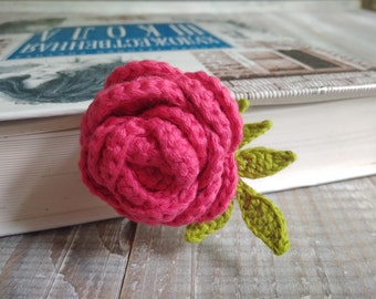 Crochet rose bookmark Amigurumi rose bookmark Amigurumi bookmark Crochet bookmark Botanical bookmark Flower bookmark Nature bookmark