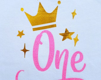 Birthday girl, photo shoot prop, bodysuit,t-shirt. 1st 2nd 3rd, girly girl, One Two Three, pink gold,  birthday gift, crown, stars, pretty