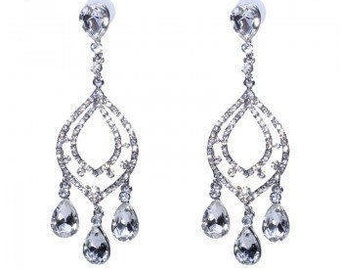 Statement Crystal Chandelier Drop Earrings - Wedding/Bridal/Bridesmaid/Prom