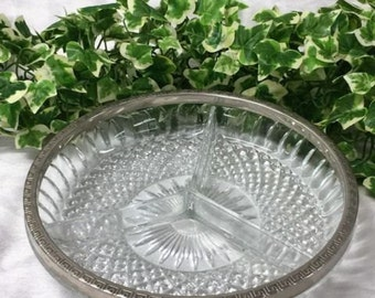 Lovely Glass & Silver Plated Three Section Serving Dish