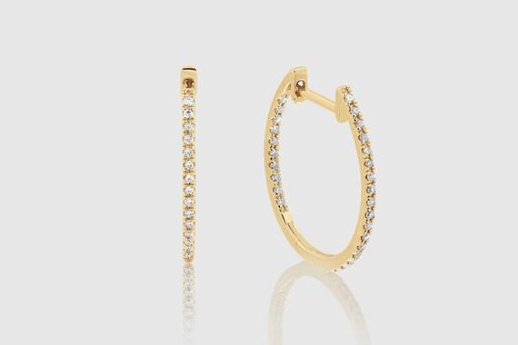 14k Solid Gold Womens Plain Hoop Diamond Sparkling Uverly Earrings