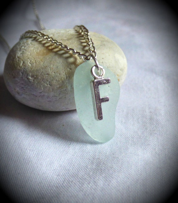 Letter F Seaglass Pendant, Initial F Jewelry, Letter F Sea Glass Jewellery, Alphabet Pendant, Letter Pendant, Initial Pendant - PC17024