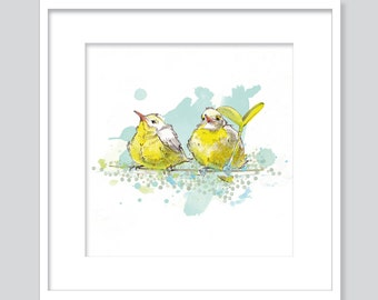 Watercolor two yellow birds friends - fine art GicléePrint -.