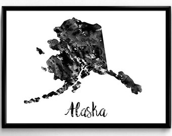 Map of Alaska, United States of America, Black and White Map, Travel, Watercolor, Room Decor,Print, Wall Art, Poster, gift (726)